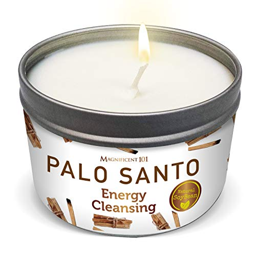 MAGNIFICENT 101 PALO Santo Smudge Candle for Home Energy Cleansing, Banishes Negative Energy - Natural Soybean Wax Tin Candle for Purification and Chakra Healing