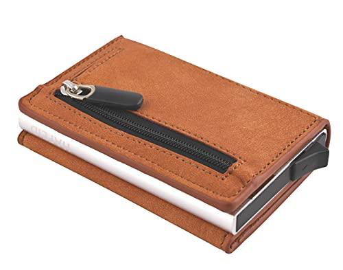 HAFEID Tarjetero con compartimento para monedas, bloqueo RFID, imán y hebilla, estuche para tarjetas de crédito, monedero, mini cartera con carcasa de aluminio