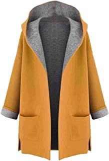 Womens Loose Coat Long Sleeve Cardigan Pocket Pea Open Front Wool Coats Overcoat Outwear