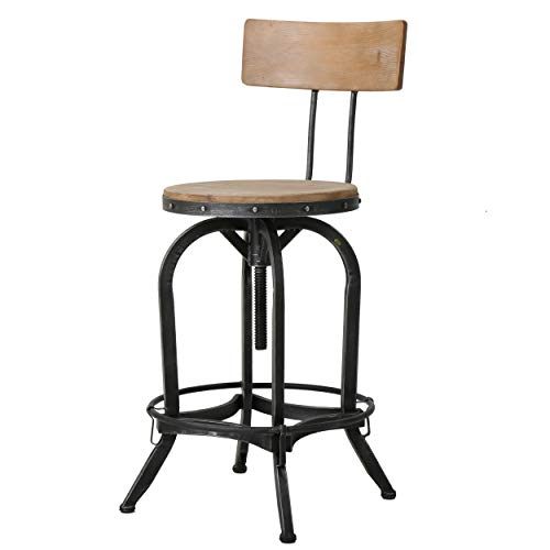 Christopher Knight Home Ximen Fir Wood Barstool with Backrest, Naturally Antique