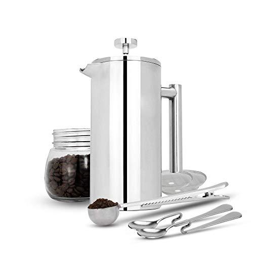 Maison & White Französisch Presse Cafetiere | Edelstahl Kaffeepresse Maker | KOSTENLOSE Extra Filter / Messlöffel / Beutelklammer | Doppelwandige Isolierung | 7er Kaffee Geschenkset | 350ml