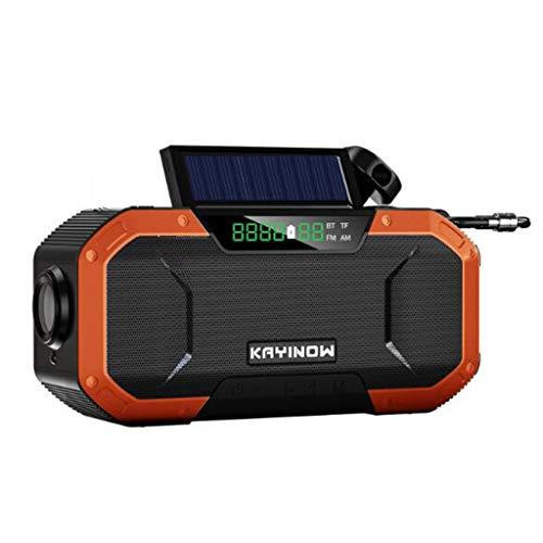Multifunctional IPX6 waterproof portable Bluetooth speaker, Wireless solar generator radio with LED flashlight, AM FM-5000mAh hand crank mobile phone charger, SOS alarm, compass (Color : 5)