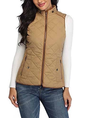 Wudodo Steppweste Damen Weste mit Stehkragen Weste Jacke Reißverschluss Steppweste Winter Warm Ultraleicht, Braun