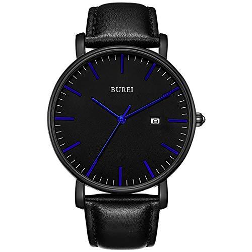 BUREI Ultra dun minimalistisch modern herenhorloge Stijlvol datum herenhorloge met klassieke, eenvoudige lederen band met groot gezicht