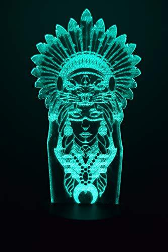 Shaman 3D LED Ilusión Lámpara de Luz de Noche al lado de la Mesa Colores Cambio Automático Interruptor Táctil Decoración Escritorio Control Remoto