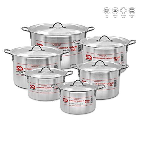 SQ Professional Taurus - Set di 6 casserole in alluminio con coperchio, 26-40 cm