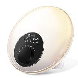 Tekjoy Wake Up Light Sunrise Alarm Clock LED Digital Wakeup Alarm with Sunrise and Sunset Simulation, FM Radio, Sleep-Aid Function, 7 Color Lights, Snooze Function, Night Light for Kids & Adults