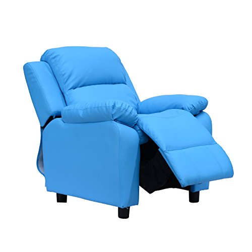 HOMCOM Kids Children Recliner Lounger Armchair Games Chair Sofa Seat PU Leather Look w/Storage Space on Arms (Blue)
