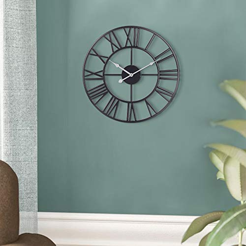 Decorative Wall Clock, European Retro Black Metal Clock with Large Roman Numerals, Silent Battery Operated Indoor Home Clock for, Living, Dining, Bedroom, Kitchen & Den - 18 Inch, White Hands