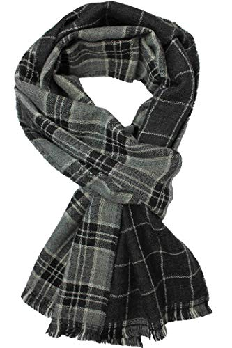 Rotfuchs Écharpe Webschal Check Doubleface à la mode noir gris 100% laine (Mérinos)