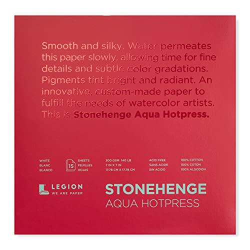 Stonehenge Aqua Watercolor Pad, 140lb, Hot Press, 7 x 7 Inches, White, 15 Sheets