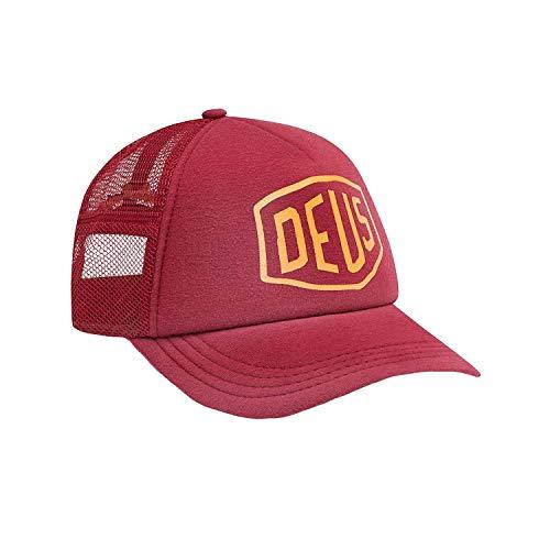 Deus ex machina Bleached Shield Trucker Cap One Size Rumba Red