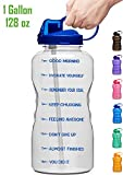Giotto Large Gallon Motivational Water Bottle with Time Marker & Straw, Leakproof Tritan BPA Free, Ensure You Drink Enough Water Daily for Fitness, Gym and Outdoor Sports-Clear Blue