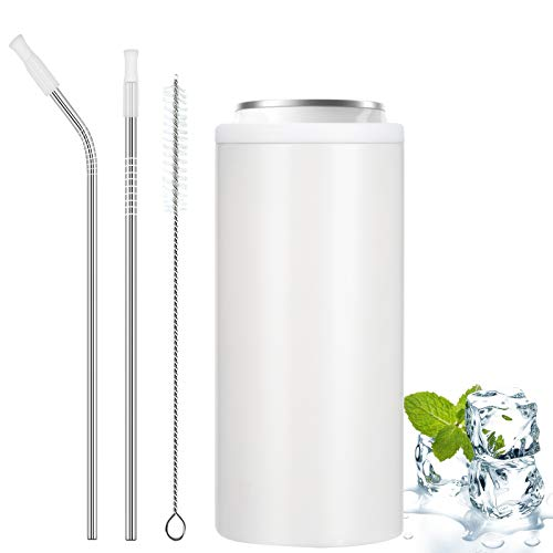 Skinny Can Coozie with Straw, Stainless Steel Insulated Slim Can Cooler for Slim Beer & Hard...