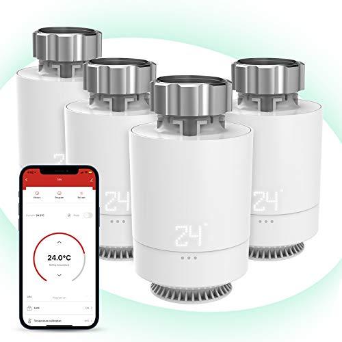 Maxcio Smarter Heizung Thermostat Kompatibel mit Alexa & Google Assistant, WiFi Gateway und 2.4Ghz WiFi erforderlich, WLAN Heizkörperthermostat mit Kindersicherungfunktion