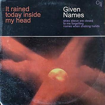 It Rained Today Inside My Head