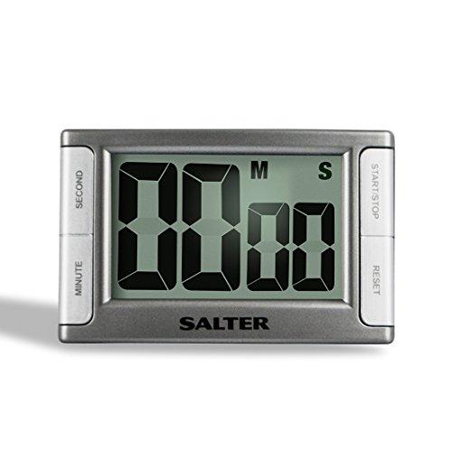SALTER Contour elektronische Küchenuhr, Digitaler Timer, Lauter Alarm, Magnetpunkte und Standbein, Einfach an Arbeitsplatte und Kühlschrank befestigen, Klares LCD Display, Lesen in Ruhe, 99min 59sek