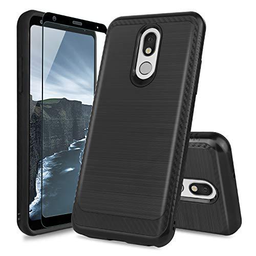 TJS Phone Case Compatible with LG Stylo 5/LG Stylo 5 Plus/LG Stylo 5V/LG Stylo 5X, [Full Coverage Tempered Glass Screen Protector] Hybrid Shockproof Metallic Brush Finish Hard Inner Layer (Black)