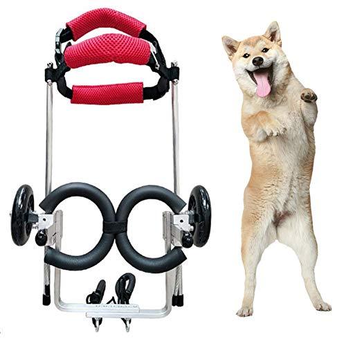 DHHVIC Haustier Hinterbeinroller, Hundrollstuhl, Zweirad Einstellbarer Hunde-Rollstuhl-Haustier-Hinterbein Rehabilitation Rollstuhl (1-20Kg),S