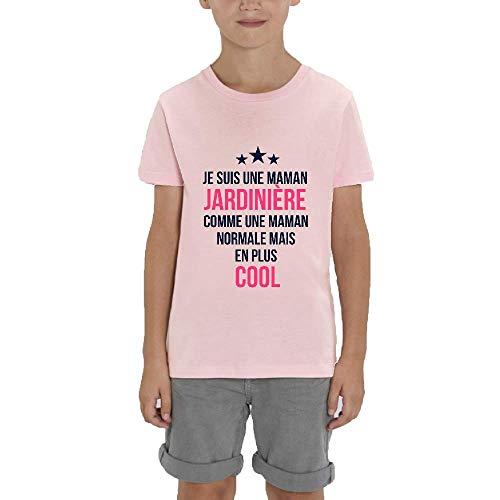 LookMyKase T-Shirt - Manche Courte - Col Rond - Je suis Une Maman Jardiniere comme Une Maman Normale mais en Plus Cool - Garçon - Rose - 7-8ans