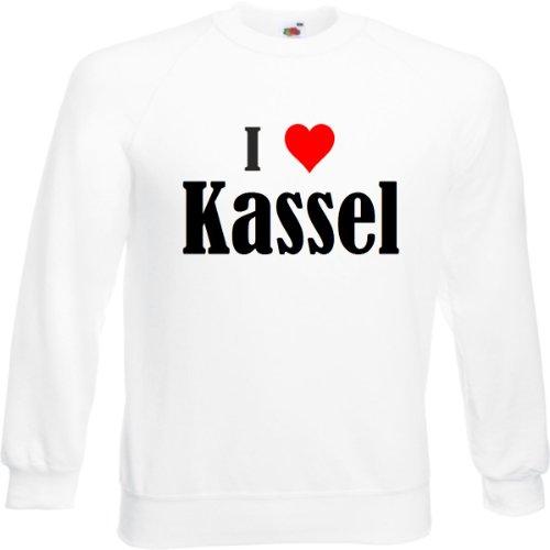 Reifen-Markt Sweatshirt I Love Kassel Größe 2XL Farbe Weiss Druck Schwarz