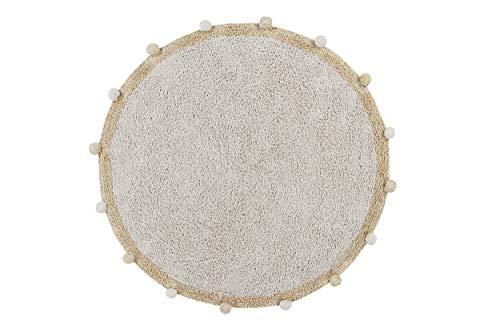Lorena Canals Tapis Lavable en Machine Bubbly Natural - Honey 97% Coton 3% Autres Fibres -Beige, Jaune- Ø 120 cm