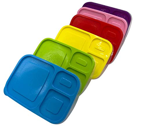 [2-3-4-5-6-8-10 Pack] Plastic Lunch Box 3 Compartment BPA Free Meal Prep Containers Microwavable, Dishwasher Safe & Reusable Food Storage Bento Lunch Boxes (Pack 10)