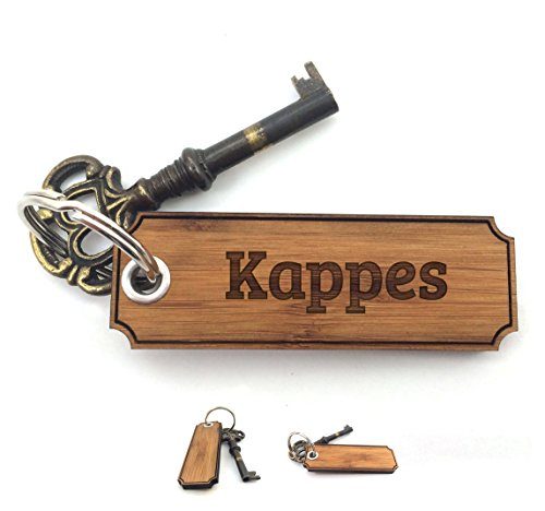 Mr. & Mrs. Panda Schlüsselanhänger Nachname Kappes Classic Gravur - 100% handgefertigt aus Bambus Holz - Anhänger, Geschenk, Nachname, Name, Initialien, Graviert, Gravur, Schlüsselbund, handmade, exklusiv