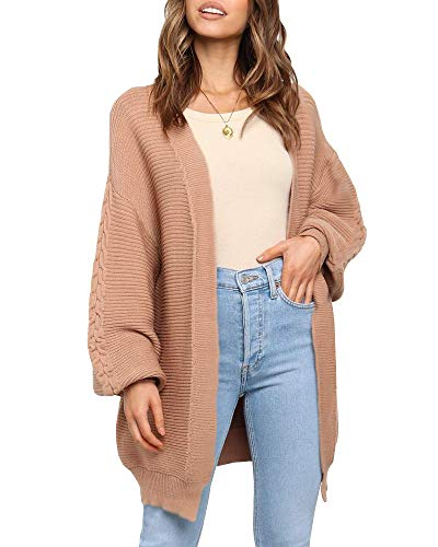 Ybenlover Casual Long Cardigan Women Batwing Long Sleeve Coat Jacket Open Front Knitted Sweater (S, Khaki)