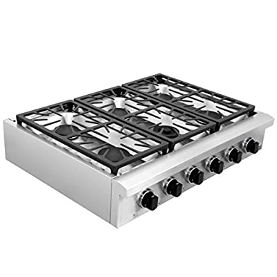 """SDADI Kitchen Gas Cooktop 36"""" Stainless Steel Range top with 1 Dual Burner for Simmer NG/LPG (kit not included) convertible SDRT3601U"""