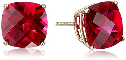 14k Yellow Gold Cushion-Cut Checkerboard Created Ruby Stud Earrings (8mm)