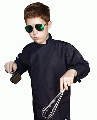 CHEFSKIN Kids Children Chef Jacket Black Lightweight