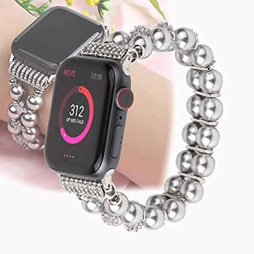 Pulsera Compatible para Apple Watch Band 44 mm / 42 mm Mujer Niña, Hecho A Mano con Cuentas Elásticas De Moda Compatible con Iwatch Series 4/3/2/1 42 mm 44 mm,38mm/40mm