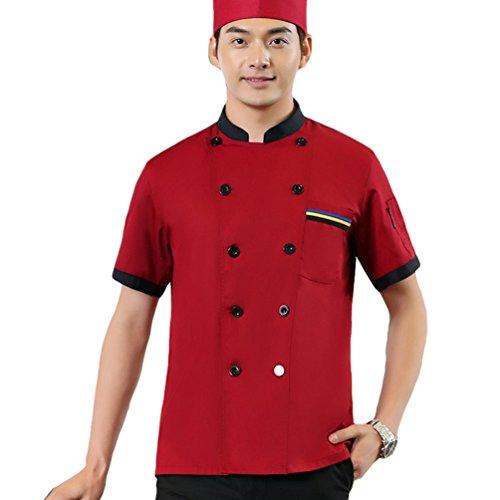 Dooxii Unisexo Mujeres Hombre Verano Manga Corta Camisa de Cocinero Moda Transpirable Chaquetas de Chef Uniforme Cocina Restaurante Occidental