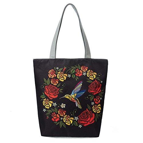 Anliyou Taschen Wasserdicht Segeltuchtasche Groß Shopper Damen Tote Bag mit Blumen Stickerei Traditional Handtaschen Stoffbeute Stofftasche Nylon Tragetasche Elegant Einkaufstasche