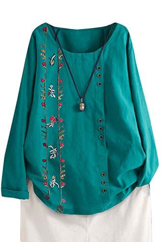 Femme Chemisier Manches Longues en Coton Lin Kaftan Imprimé Floral Tunique T-Shirt Baggy Tops Grande Taille Vert 3XL