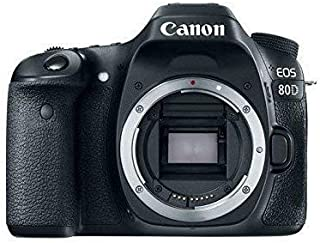 Canon EOS 80D Digital SLR 24.2 MP Camera Body Only with APS-C Sensor 7 fps Dual Pixel CMOS AF - Black cámara para Deporte de acción