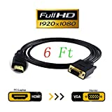 JBingGG HDMI to VGA Cable Adapter Converter Monitor D-SUB 15 Pin HDMI Gold Male to VGA Male Connector Cord Transmitter one-Way Transmission for Computer PC 6Ft (Black)