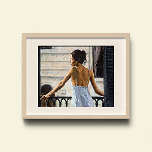 WSNDGWS muurkunst Buenos Aires balkon hoofdlevering modern olieverfschilderij geen fotolijst 20x30cm C1.