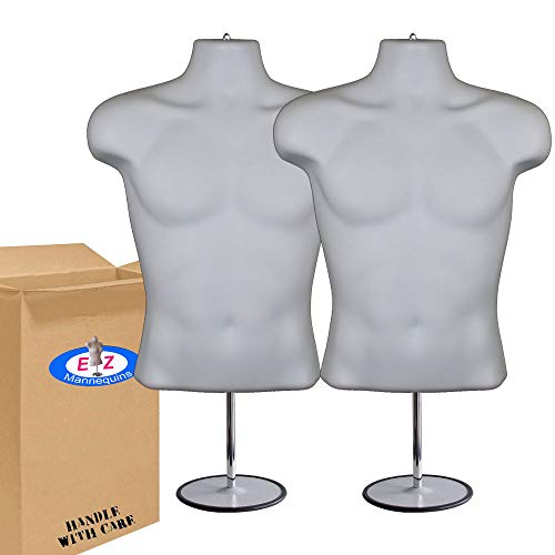 2-Pack Male Mannequin Torso, Dress Form Hollow Back Body Tshirt Display, w/Stand for Counter by EZ-Mannequins for Craft Shows, Photos or Design, Easy to Assemble and Store, S-M Clothing Sizes, White.