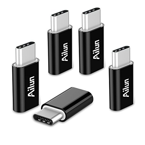 Ailun 5 Stuck USB C Adapter auf Micro USB USB Typ C Adapter Konverter 56K Widerstand fur Samsung Galaxy S10 S9 S8 PlusNote 10 9 8A3 A5 2017 Huawei P9P10 LG G5 G6 und weitere Typ C Gerate