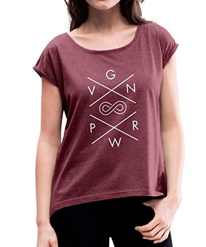 VGN PWR Vegan Power Forever Frauen T-Shirt mit gerollten Ärmeln, XL, Bordeauxrot meliert