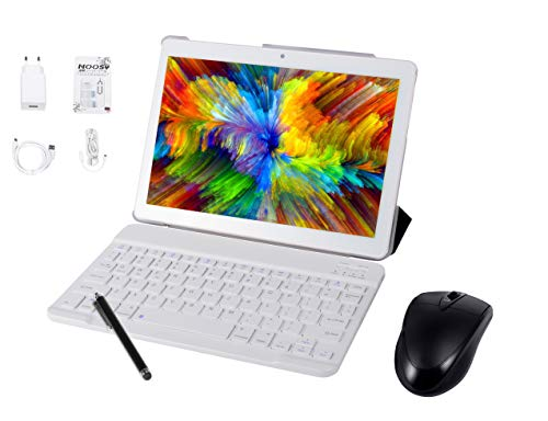 Tableta Android9.0 3G, 4GB + 64GB, Tableta Android con Pantalla HD IPS de 10.0 Pulgadas, 2 Ranuras para Tarjetas SIM, Quad-Core, 1.3 GHz, Bluetooth, WiFi, GPS, cámara Dual, Blanco