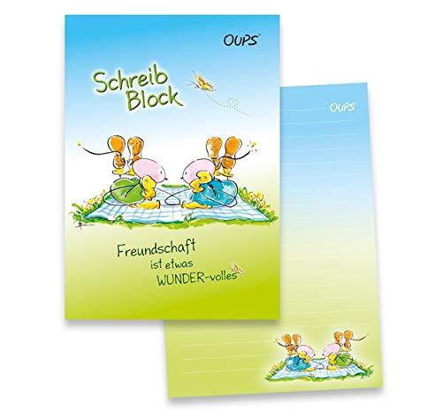 Oups-Schreibblock A5 - blau/grün: Freundschaft ist etwas Wundervolles