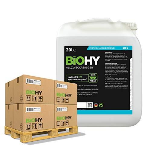 BiOHY Limpiador multiuso, Limpiador de alcohol, Limpiador universal (24 x Bote de 20 litros) | Limpiador Profesional de Mantenimiento - Producto de Limpieza ecológico (Allzweckreiniger)