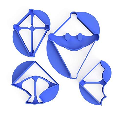 3DREAMS 4er Set Keksausstecher Kites Drachen- Herbst Ausstecher - inkl 2 Rezepte aus Bio Kunststoff Made in Germany (Drachen/Kites)