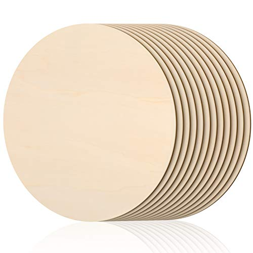 16 Inch Round Wood Circles Unfinished Round Wood Cutouts for Crafts, Door Hanger Painting and Wood Burning (12 Pieces)