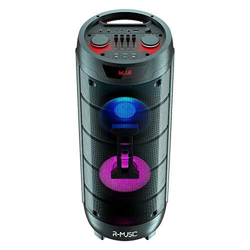 R-Music RM311685 Booster XL High Power - Altavoz inalámbrico (1000 W, con Efecto Luminoso, Sonido 360º, Funciona con batería de 5 Horas de autonomía, Entrada USB y Jack y micrófono Incluido)