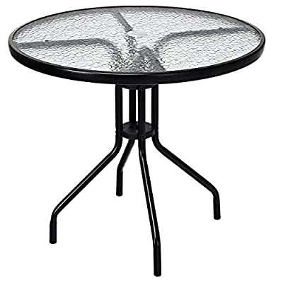 """Goplus 32"""" Outdoor Patio Table Round Shape Steel Frame Tempered Glass Top with Umbrella Hole Commercial Party Event Furniture Conversation Coffee Table for Backyard Lawn Balcony Pool (Black)"""