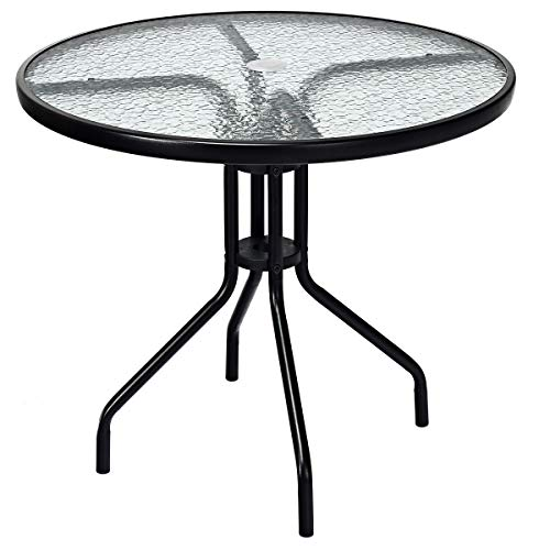 Goplus 32' Outdoor Patio Table Round Shape Steel Frame Tempered Glass Top with Umbrella Hole Commercial Party Event Furniture Conversation Coffee Table for Backyard Lawn Balcony Pool (Black)